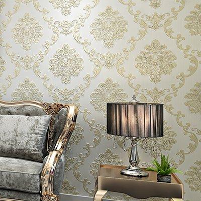 Cunguang Damast Muster moderner, minimalistischer Non-Woven Wasser Anlage Muster 3D-geprägte Tapeten Rollen für Wohnzimmer Schlafzimmer Wänden 0,53 * 10 M E
