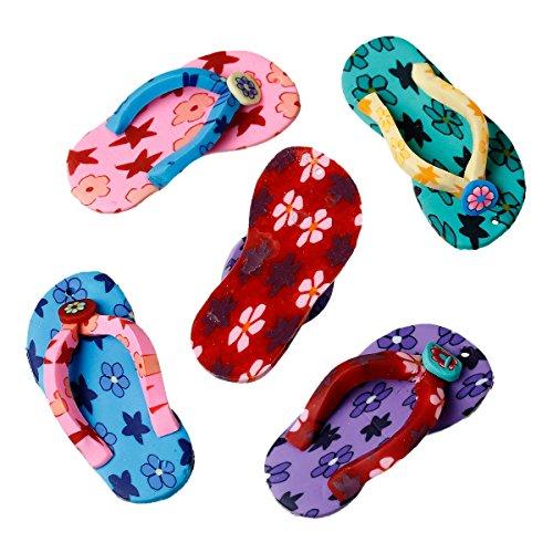 Sadingo 1grande Bunter Polymer Clay/Fimo Ciondolo–Flip Flop–5,1x 2,4cm–Mix–casuali gioielli fai da te