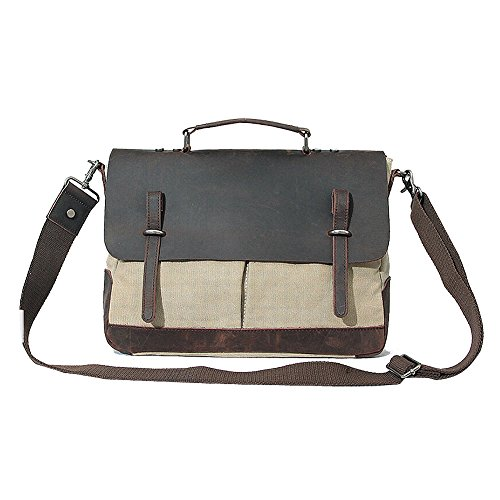 Paonies Unisex Damen Herren Canvas Leder Tasche Messenger Bag Umhängetasche (Grün) Beige