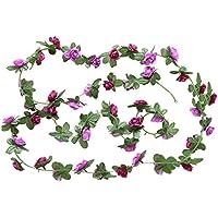 Doitsa 1pcs vid de flor de simulación falso de flor de vid cañas de rosas vid de flor de plástico decorativa 2.5M, morado, 2.5M