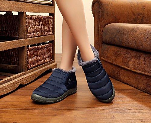 Minetom Uomo Donna Stivali Invernali Scarpe Allineato Pelliccia Caloroso Caviglia Scarpe Neve Inverno Piatto Stivaletti Sportive Boots BJ blu