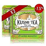 Kusmi Tea - Lot de 2 boîtes de thé vert saveur gingembre citron - 2 x 20 sachets - Aussi idéal en Glacé
