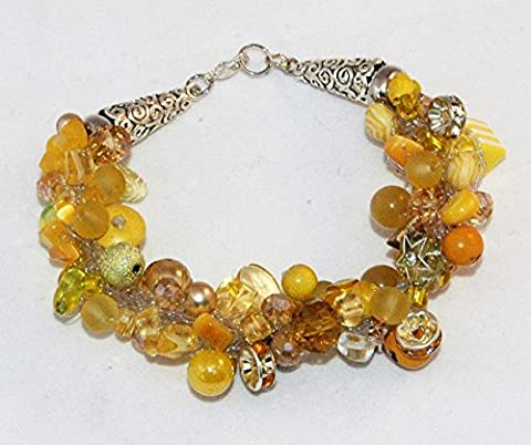 bracelet jaune crocheté