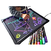 Acrylic Led Drawing Board Light up Message Writing Boards Flashing Erasable Menu Sign Kids Fluorescent Doodle Scribble Board for Children-Sensory Toy for Autism, ADHD, Special Need