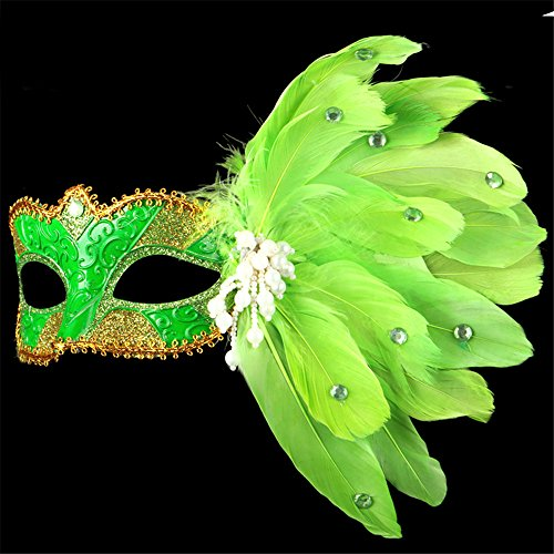 Halloween Maske Make-up Tanz Show Gemalte Federn Halbes Gesicht Spitze Schöne Prinzessin Pearl Masken,Grün (Jungs Für Halloween-make-up Halbe-gesicht)
