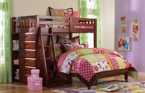 Twin Over Full Loft Bed in Merlot Finish by Discovery World Furniture - Twin Loft Full