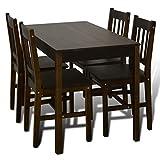 FZYHFA Esszimmer Tisch mit 4Stühlen aus Pinienholz 108x 65x 73cm (L x B x H) Braun für Esszimmer