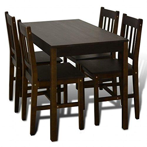 Fesjoy Rettangolare di Legno Tavolo da Pranzo della Cucina con 4 sedie di Corrispondenza Set di mobili per la Camera Tavolo da Pranzo e sedie impostate Set di mobili da Esterno Marrone