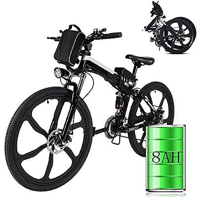 Bunao Elektrofahrräder 36V 8AH Lithium Batterie Faltrad MTB Mountainbike E-Bike 17 * 26 Zoll Shimano 21 Speed Fahrrad Intelligence Elektrofahrrad