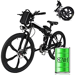 """Laiozyen Vélo Electrique 26"""" e-Bike VTT Pliant 36V 8AH Batterie au Lithium de Grande Capacité et Le Chargeur Premium Suspendu et Shimano Engrenage (Typ4_26'')"""