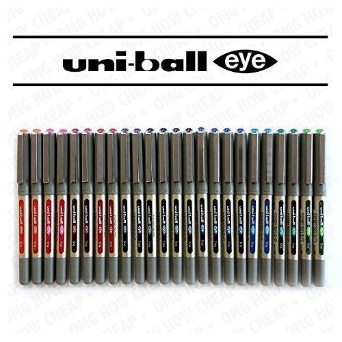 Uni-Ball UB-157 Eye Lot de 24 stylos roller à pointe fine Assortiment de couleurs