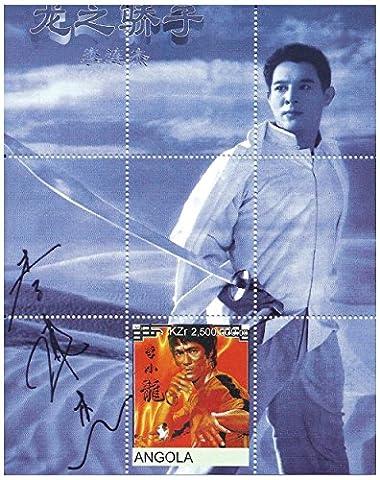 Chinois films d'arts martiaux étoiles de feuille de timbres Hollywood avec Jet Li et Bruce (Francobolli Fu)