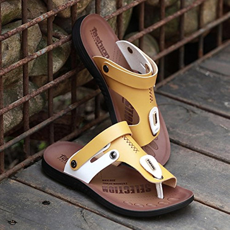 ZHANGJIA Men's Toe Antideslizante Sandalias, Chanclas De Playa, Zapatos, Zapatillas De Corea,39,8890 Amarillo