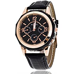 FEITONG Luxury Quartz Sport Military Stainless Steel Dial Leather Band Wrist Watch Men