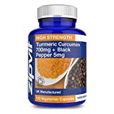 Turmeric 700mg with Black Pepper | 120 Capsules | Highest Strength | Vegetarian | 4 MONTHS SUPPLY