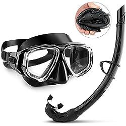 NockNock Kit de plongée avec Tuba et Masque de plongée Professionnel avec Film Anti-buée en Verre et Tuba en Silicone Souple pour Adulte