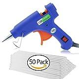 GiBot Mini Pistola De Silicona Con 50 piezas Barras de Silicona Pegamento Alta Temperatura Kit De Pistola De Pegamento Para Decoración DIY Reparación de bricolaje (20vatios, Azul)