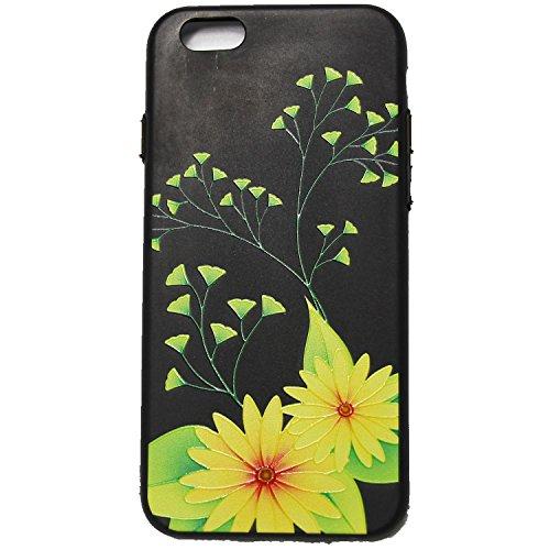 invei iPhone 6 Handyhülle,iPhone 6S Flip Case,Bunte Muster Design/Ledertasche Schutzhülle Leder Huelle Stand Magnetverschluss -Mandala Blumenmuster Gelbes Gänseblümchen-Design