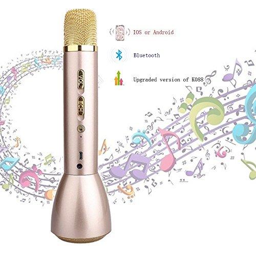 Mikrofon Bluetooth Kabellos, Home Party Karaoke Mic K098Befehle Dynamische/Kondensatormikrofon Karaoke Player/Studio-Mikrofon-System, Remote für Hotels Bildung Show kompatibel mit Smartphone Android, Apple iPhone, Laptop, Tablet (Goldene) (Befehl Mic)