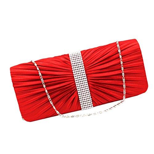 Sharplace Donne Pochette da Giorno Elegante Borsette da Sera Festa di Nozze Partito Cristallo Satinato a Pieghe Decorazione Borsa Rosso