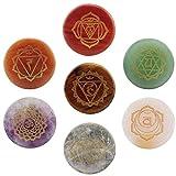 7pcs Piedras Rondas de Cristal de Palma Energía Reiki Yoga