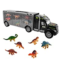 TWFRIC Dinosaur Transport Carrier Truck Toy With 6 Mini Plastic Dinosaurs Educational Toys for Kids Boys Girls