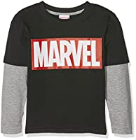 Marvel Boy's Logo-Kids-LS T-Shirt Sml Long Sleeve Tops, Multicoloured (Black/Grey), 5-6 Years (Manufacturer Size:Small)