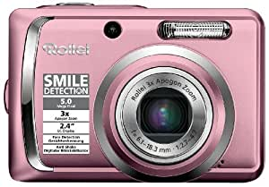 Rollei Compactline 55 Digitalkamera (5 Megapixel, 3-fach opt. Zoom, 6,1 cm (2,4 Zoll) Display) rosa