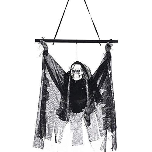 HLCE Halloween Dekoration Fliegen Geister Horror Requisiten Elektrische Induktion Leucht Skelett Anhänger Hängende Geist für Garten Hof Indoor Outdoor Party Haus Haunted Bar KTV (Payaso Halloween Disfraces)