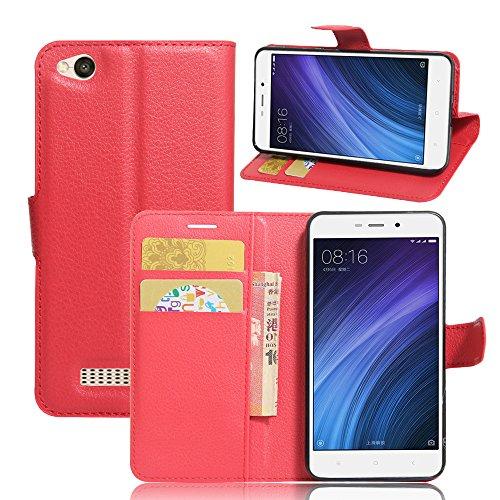 Xiaomi Redmi 4A Handyhülle Book Case Xiaomi Redmi 4A Hülle Klapphülle Tasche im Retro Wallet Design mit Praktischer Aufstellfunktion - Etui Rot