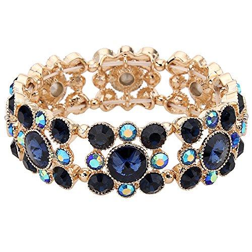 Flyonce Round österreichischen Kristall Vintage Style Bridal Elastische Stretch-Armband Blau Saphir Farbe Gold-Ton