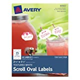 True Print Textured Scroll Oval Labels 2-1/2