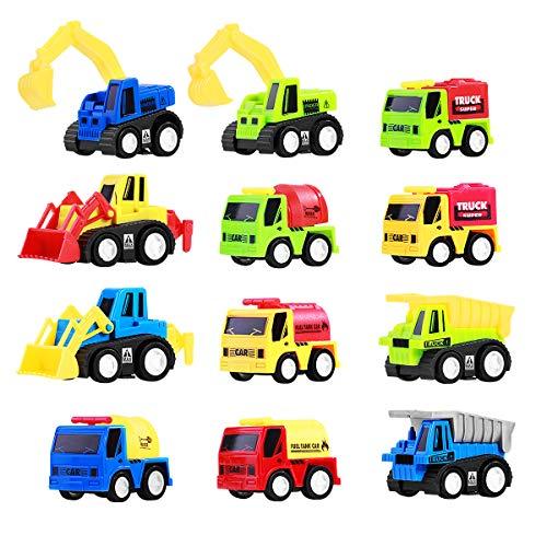 TOYMYTOY Mini Spielzeugautos Kunststoff Fahrzeugmodell Zurückziehen Fahrzeuge 12Pcs Baufahrzeuge Rennwagen Spielzeug Geschenkset Mini Pull Back Autos für Kinder