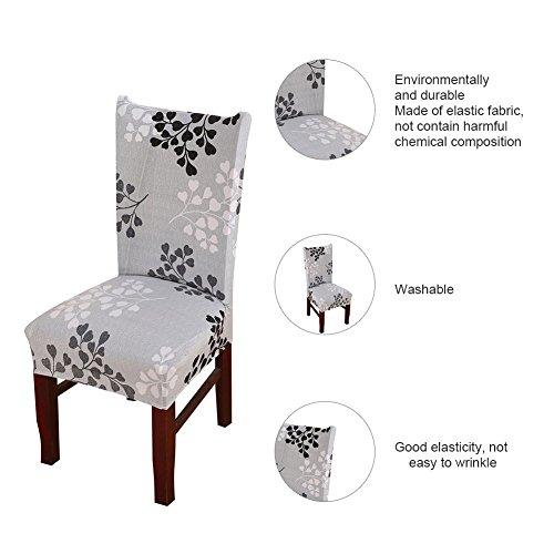 6x morbido spandex elasticizzato Fit sedie da sala da pranzo con motivo stampato, banchetto sedia sedile Slipcover per Hone party hotel cerimonia di nozze Posate da pasto B - 4