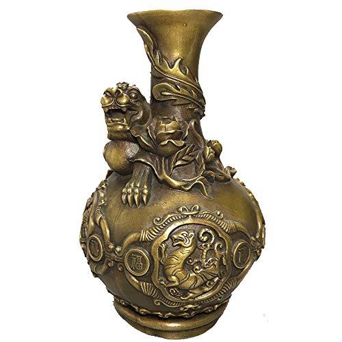 WOkismx Jarrón De Latón Antiguo Antigüedades Antiguas