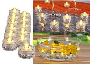 MQ 12 x flackerndes Teelicht LED Kerzen Flamme elektrisch, wasserfest und versenkbar Wohn-Dekoration