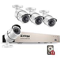 ZOSI 4CH 1080P Sistema de Vigilancia PoE NVR con 4pcs 2.0MP PoE Cámaras, Sistema de Seguridad para Exteriores y Interiores, P2P, 1TB HDD Preinstalado
