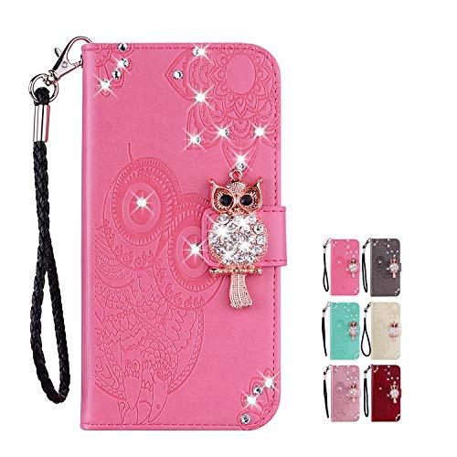 KM-Panda Lederhülle Flip Case Kompatibel für Samsung Galaxy A20e Leder Hülle Tasche Eule Diamant Glitzer Pink Schutzhülle Handytasche Handyhülle