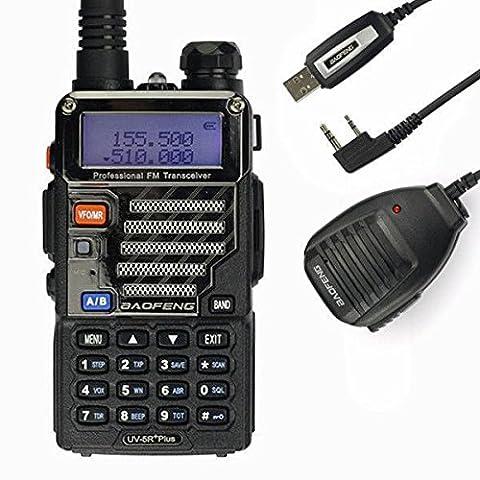 Baofeng UV-5R plus Talkie walkie 136-174 400-480MHz Dual-Band avec câble USB, microphone et manuel en allemand 2m/70cm