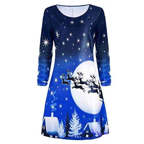 Merry Christmas Kleider Damen Print Swing Dress Frauen Weihnachten Drucken Langarm Kleid Ladies Evening Party Knee Dress Von Xinan (Blau, S) (Silk Kleid Tank)