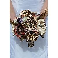 Stampa animalier marrone artificiale girasole e stampa leopardo Handmade magnolia fiore bouquet da sposa - Anemone Bouquet Da Sposa
