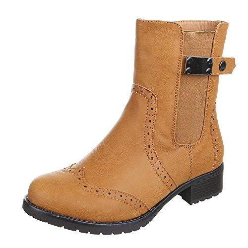 Damen Schuhe, H352, STIEFELETTEN Camel