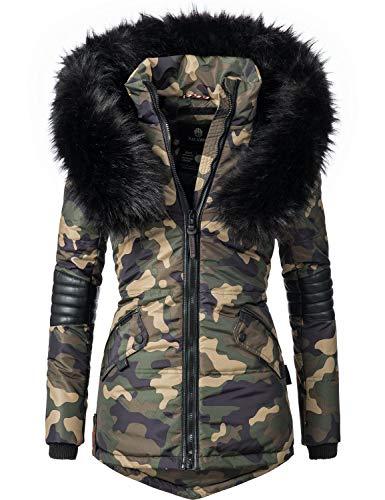 Navahoo Nirvana Veste d'hiver pour Dame avec Une Capuche en Fausse Fourrure Noire Camouflage L