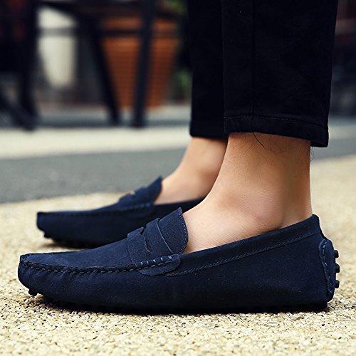 Jamron Hommes Minimalisme en Passant Conduite Chaussures Suède Flâneurs 2088 Bleu Marine