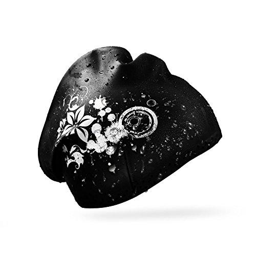 REACHOPE Badehaube Damen Schwimmhaube für Lange Haare Schwimm Mütze Silikon Badekappe mit schönem Blumen-Muster - Schwarz