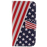 Coque iPhone 4/4S - Housse en Cuir pour iPhone 4 4S étui Case Cover Coque Bookstyle avec Fonction de Support (Drapeau des États-Unis)