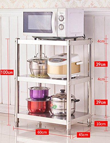 HWF Etagères de cuisine Étagère de cuisine 3 couches de plancher Micro-ondes au four Rangement de finition Rangement de grille de vaisselle Étagères en acier inoxydable pour étagères