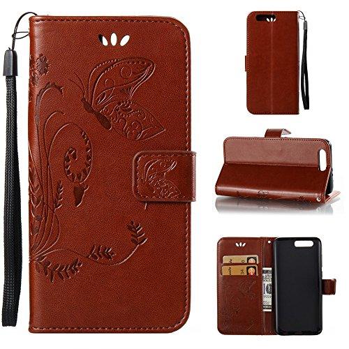 Solid Color Faux Leder Bookstyle Brieftasche Stand Case mit geprägten Blumen & Lanyard & Card Slots für Huawei Hornor 9 ( Color : Royal Blue ) Coffee