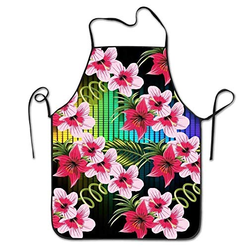 Hawaii-schürze (Kochschürze Personalized Kitchen Aprons Floral Hawaii Flower Creative Print Home Kitchen Adjustable Easy Care Barbecue Lightweight Apron Dress for Family Use Chef Apron Artist Smocks Dining funny)