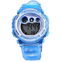 Leopard Shop HOSKA H002S Kid Sports Digital Watch with Day Chronograph LED Light Wristwatch Water Resistance Blue